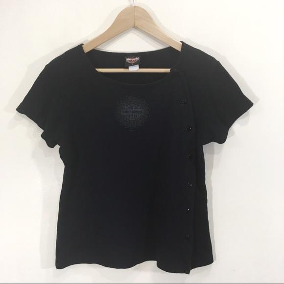 Harley Davidson Snap Button Shirt Black XL